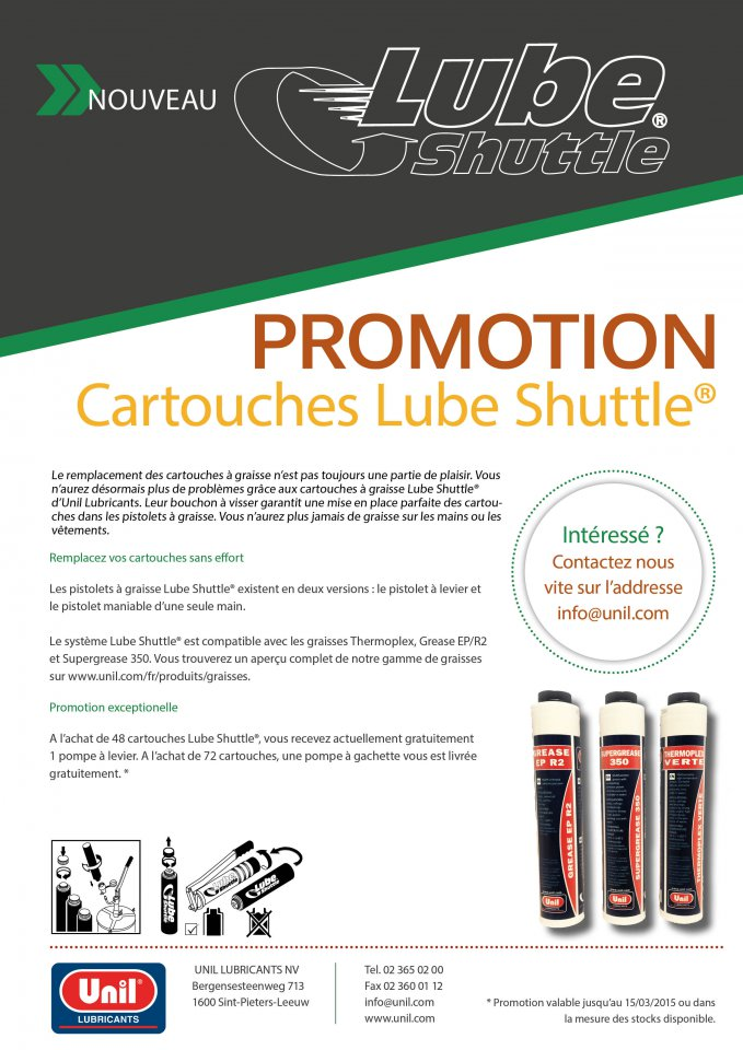 Unil lance une  PROMOTION EXCEPTIONELLE : Cartouches Lube Shuttle. dans --LUBRIFIANTS informations- Normes homologations marché. Promotion%20Lube%20Shuttle%20Website%20FR